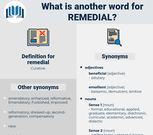 remedial, synonym remedial, another word for remedial, words like remedial, thesaurus remedial