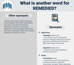 Remedied, synonym Remedied, another word for Remedied, words like Remedied, thesaurus Remedied