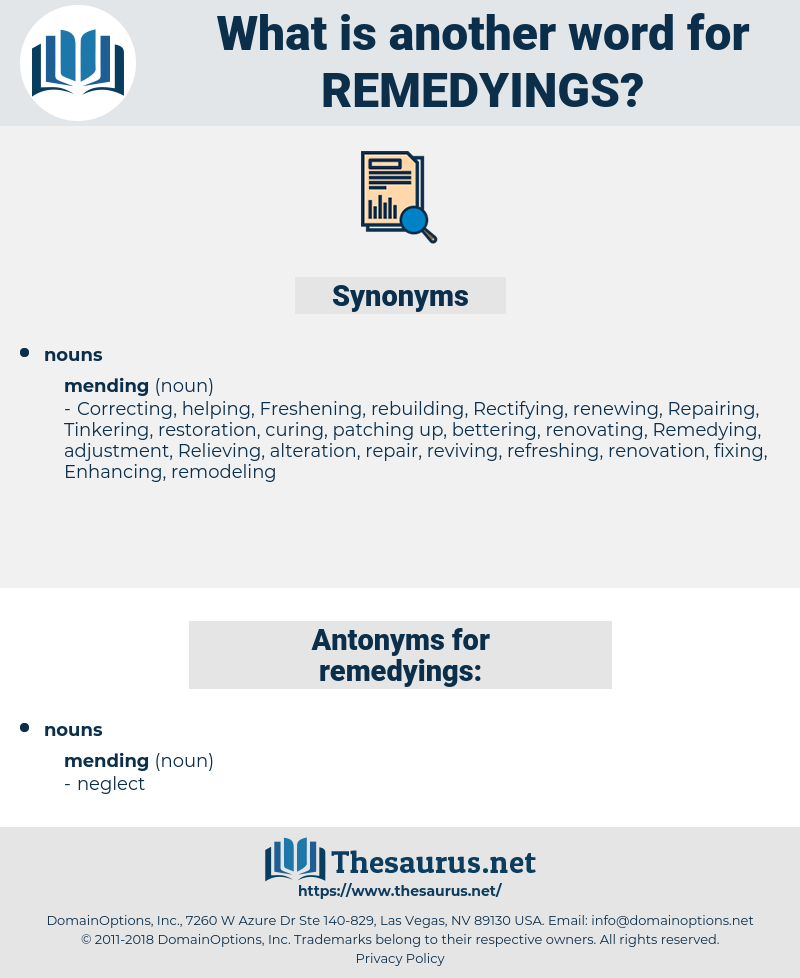 remedyings, synonym remedyings, another word for remedyings, words like remedyings, thesaurus remedyings