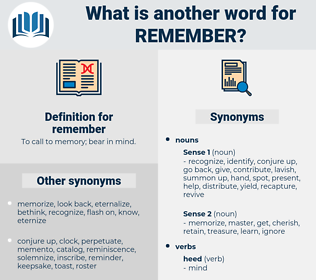 remember, synonym remember, another word for remember, words like remember, thesaurus remember