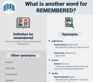 remembered, synonym remembered, another word for remembered, words like remembered, thesaurus remembered