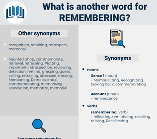 remembering, synonym remembering, another word for remembering, words like remembering, thesaurus remembering