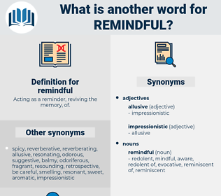 remindful, synonym remindful, another word for remindful, words like remindful, thesaurus remindful
