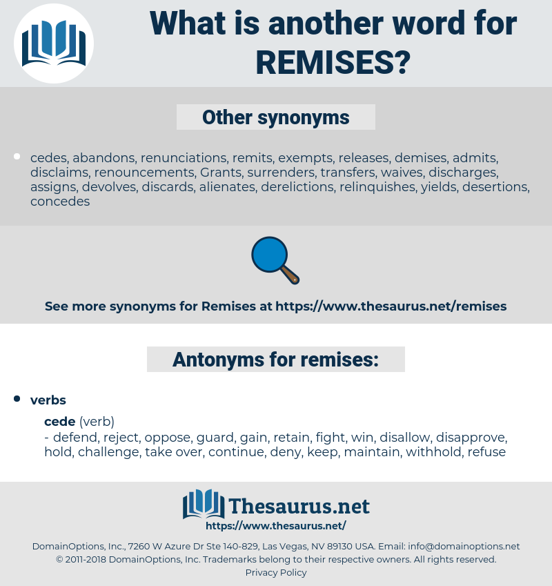remises, synonym remises, another word for remises, words like remises, thesaurus remises