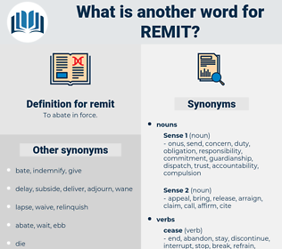 remit, synonym remit, another word for remit, words like remit, thesaurus remit