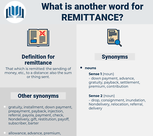 remittance, synonym remittance, another word for remittance, words like remittance, thesaurus remittance