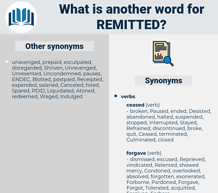Remitted, synonym Remitted, another word for Remitted, words like Remitted, thesaurus Remitted