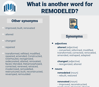 remodeled, synonym remodeled, another word for remodeled, words like remodeled, thesaurus remodeled