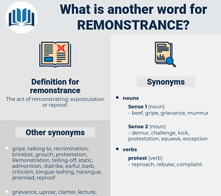 remonstrance, synonym remonstrance, another word for remonstrance, words like remonstrance, thesaurus remonstrance