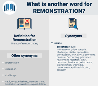 Remonstration, synonym Remonstration, another word for Remonstration, words like Remonstration, thesaurus Remonstration