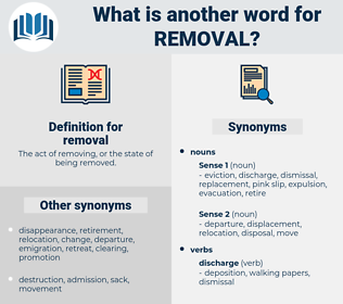 removal, synonym removal, another word for removal, words like removal, thesaurus removal