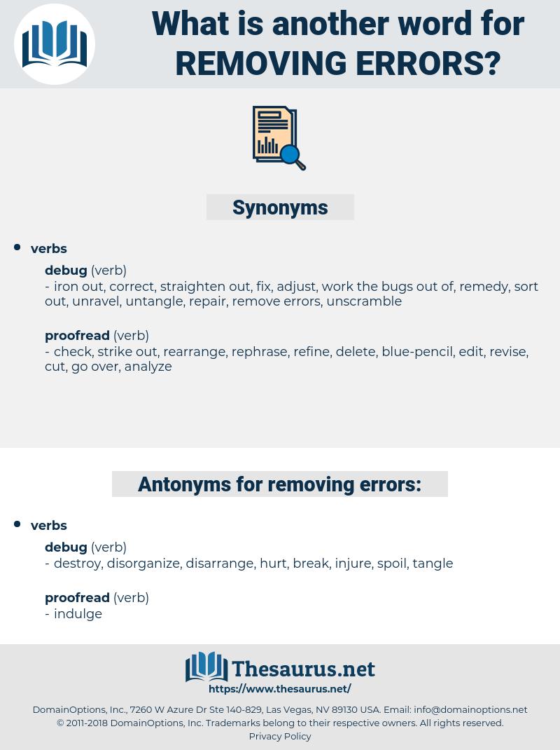removing errors, synonym removing errors, another word for removing errors, words like removing errors, thesaurus removing errors