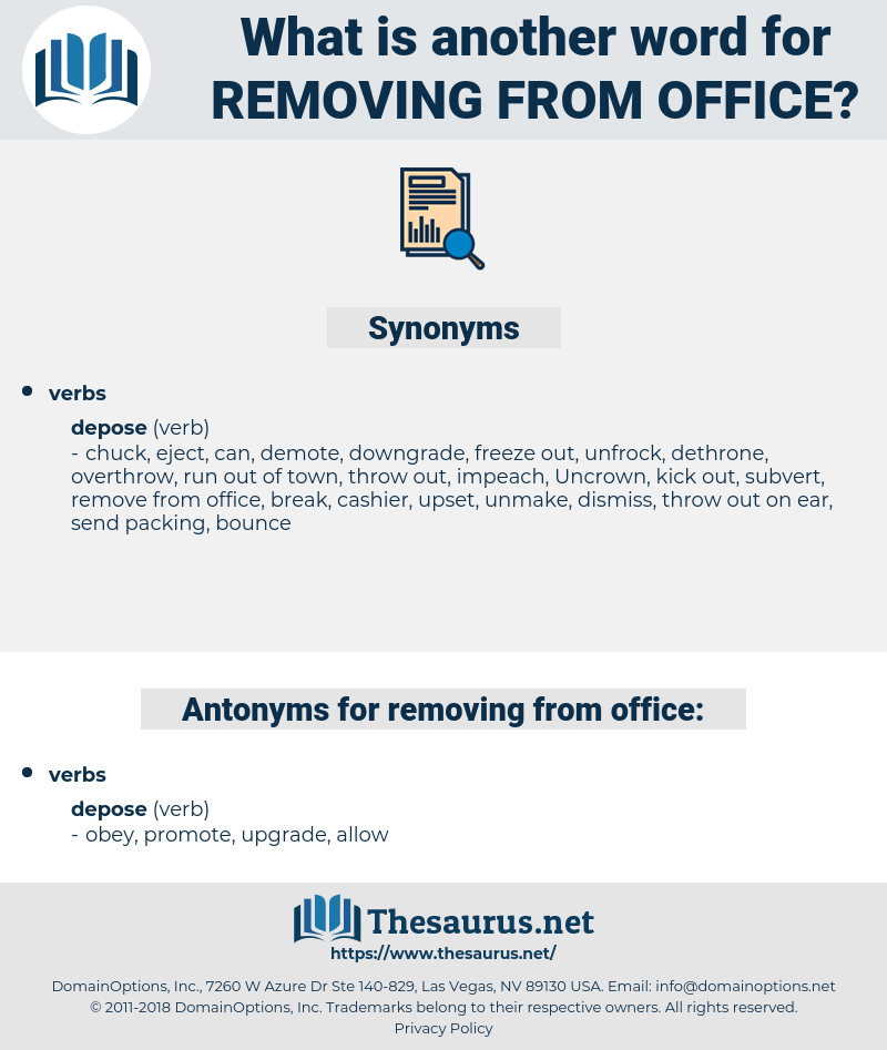 removing from office, synonym removing from office, another word for removing from office, words like removing from office, thesaurus removing from office