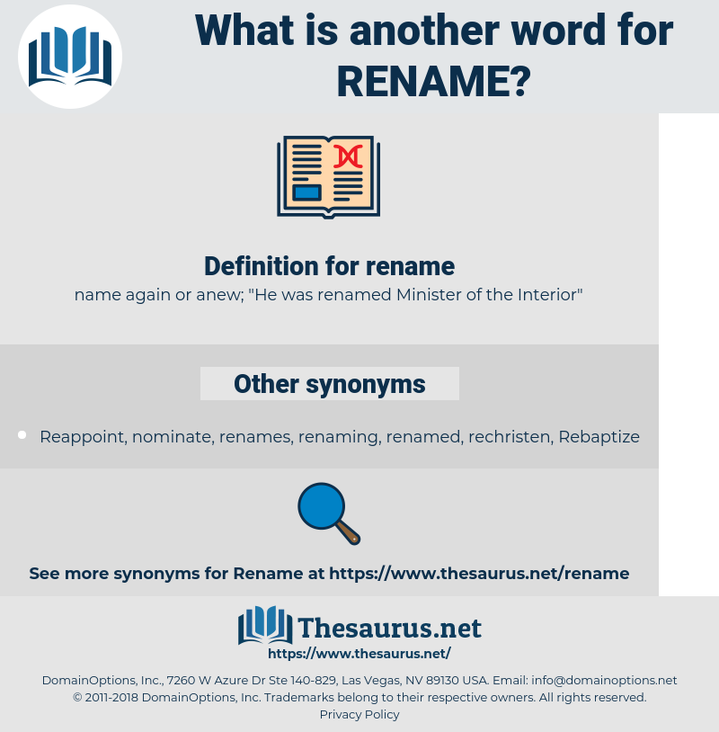 rename, synonym rename, another word for rename, words like rename, thesaurus rename