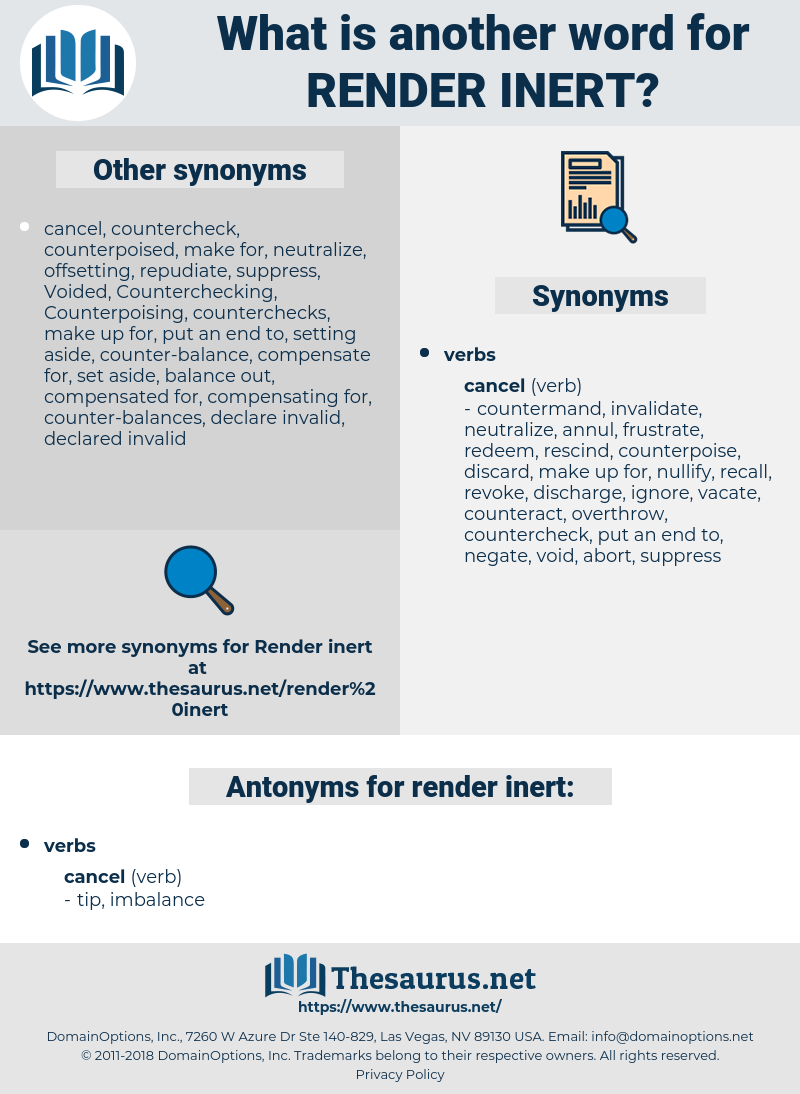render inert, synonym render inert, another word for render inert, words like render inert, thesaurus render inert