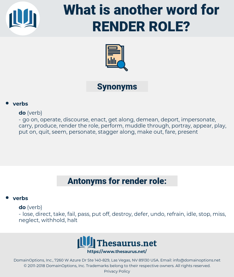 render role, synonym render role, another word for render role, words like render role, thesaurus render role