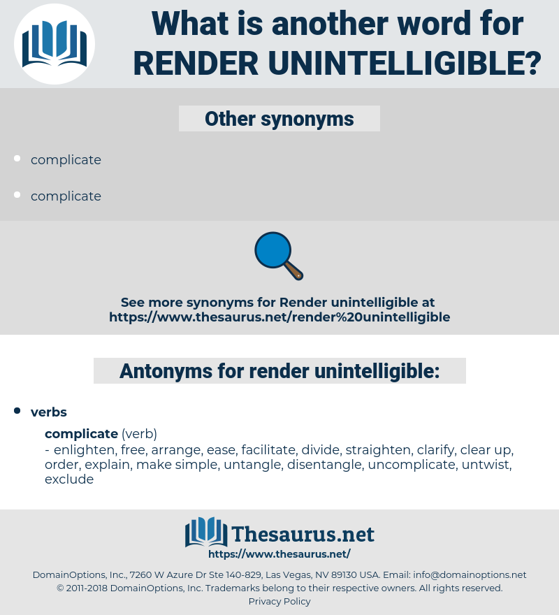render unintelligible, synonym render unintelligible, another word for render unintelligible, words like render unintelligible, thesaurus render unintelligible