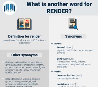 render, synonym render, another word for render, words like render, thesaurus render