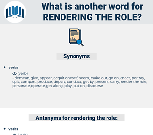 rendering the role, synonym rendering the role, another word for rendering the role, words like rendering the role, thesaurus rendering the role
