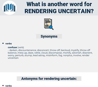 rendering uncertain, synonym rendering uncertain, another word for rendering uncertain, words like rendering uncertain, thesaurus rendering uncertain