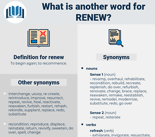 renew, synonym renew, another word for renew, words like renew, thesaurus renew