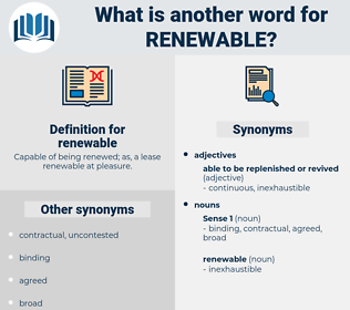 renewable, synonym renewable, another word for renewable, words like renewable, thesaurus renewable