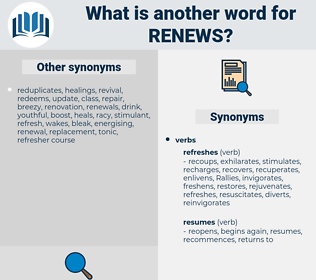 renews, synonym renews, another word for renews, words like renews, thesaurus renews