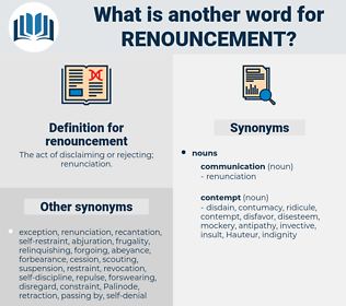 renouncement, synonym renouncement, another word for renouncement, words like renouncement, thesaurus renouncement