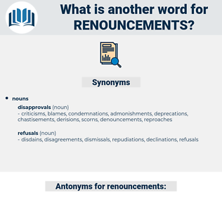 renouncements, synonym renouncements, another word for renouncements, words like renouncements, thesaurus renouncements