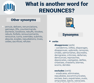 renounces, synonym renounces, another word for renounces, words like renounces, thesaurus renounces