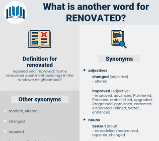 renovated, synonym renovated, another word for renovated, words like renovated, thesaurus renovated