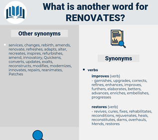 renovates, synonym renovates, another word for renovates, words like renovates, thesaurus renovates