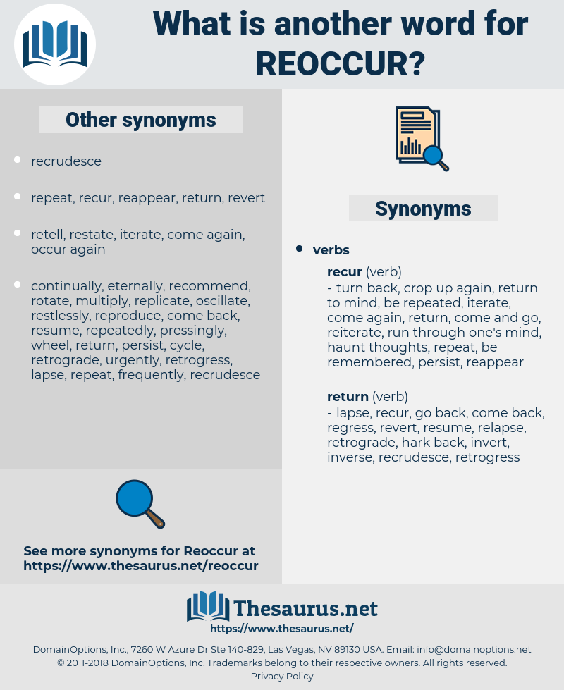 reoccur, synonym reoccur, another word for reoccur, words like reoccur, thesaurus reoccur