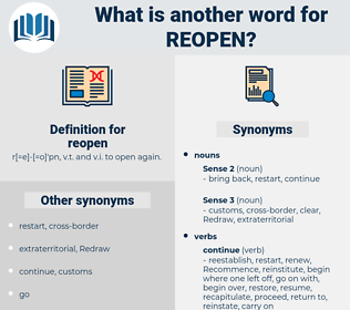 reopen, synonym reopen, another word for reopen, words like reopen, thesaurus reopen