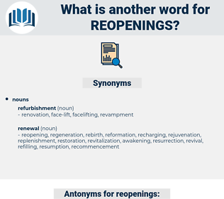 reopenings, synonym reopenings, another word for reopenings, words like reopenings, thesaurus reopenings