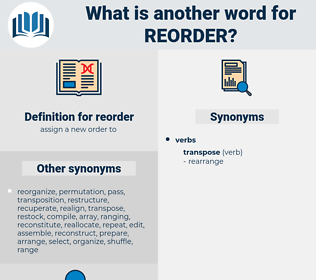 reorder, synonym reorder, another word for reorder, words like reorder, thesaurus reorder
