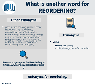 reordering, synonym reordering, another word for reordering, words like reordering, thesaurus reordering