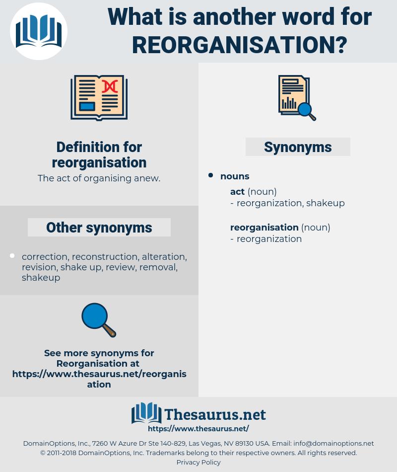 reorganisation, synonym reorganisation, another word for reorganisation, words like reorganisation, thesaurus reorganisation