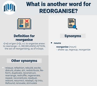 reorganise, synonym reorganise, another word for reorganise, words like reorganise, thesaurus reorganise