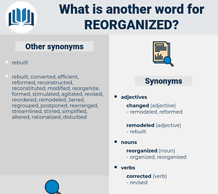 reorganized, synonym reorganized, another word for reorganized, words like reorganized, thesaurus reorganized