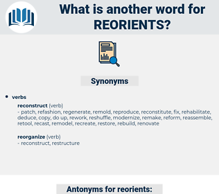 reorients, synonym reorients, another word for reorients, words like reorients, thesaurus reorients