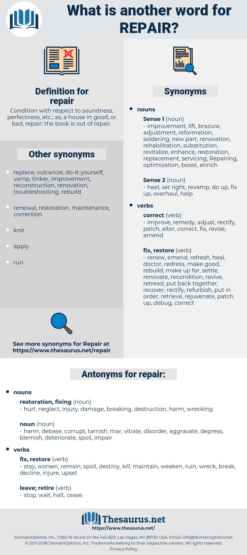 repair, synonym repair, another word for repair, words like repair, thesaurus repair