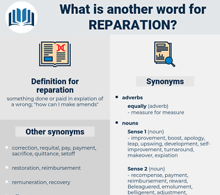 reparation, synonym reparation, another word for reparation, words like reparation, thesaurus reparation