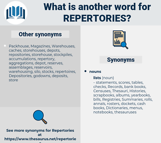 repertories, synonym repertories, another word for repertories, words like repertories, thesaurus repertories