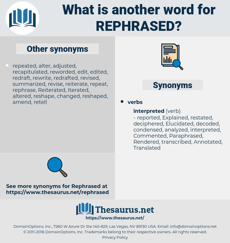 rephrased, synonym rephrased, another word for rephrased, words like rephrased, thesaurus rephrased