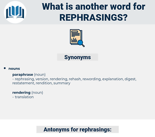 rephrasings, synonym rephrasings, another word for rephrasings, words like rephrasings, thesaurus rephrasings