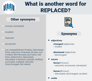 replaced, synonym replaced, another word for replaced, words like replaced, thesaurus replaced