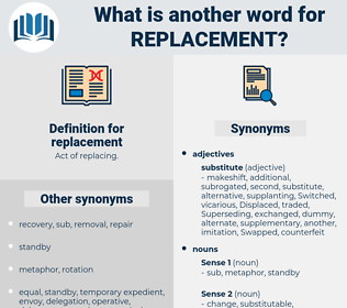 replacement, synonym replacement, another word for replacement, words like replacement, thesaurus replacement