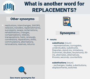 replacements, synonym replacements, another word for replacements, words like replacements, thesaurus replacements