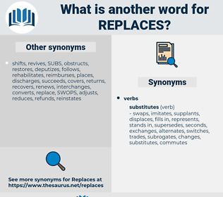 replaces, synonym replaces, another word for replaces, words like replaces, thesaurus replaces